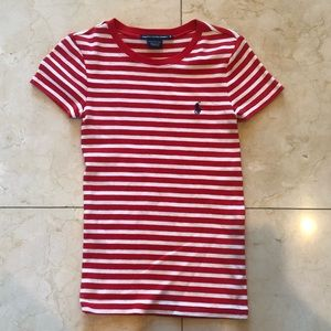 Ralph Lauren NWOT Red and White Striped Tee Sz S